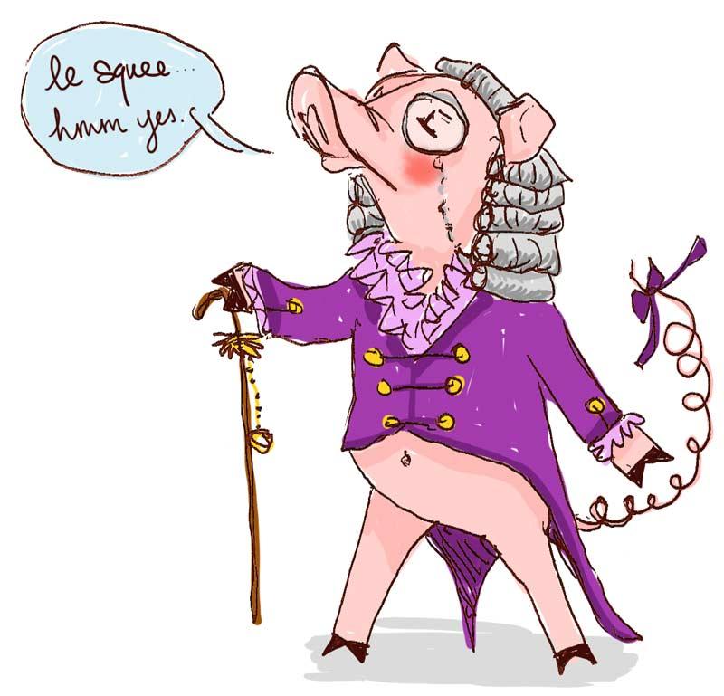 fopbelly pig sketch by Mari Collins